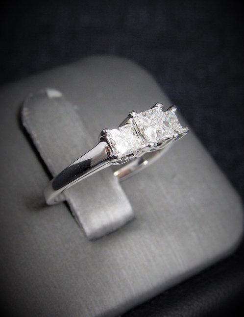 14KT White Gold Princess Cut Diamond Three-Stone Style Engagement Ring