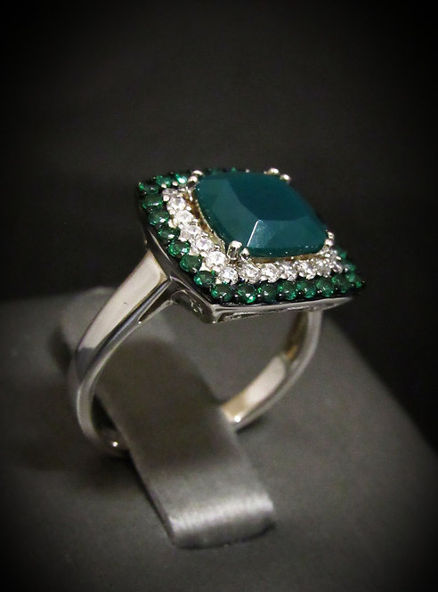 Square Green Agate, Topaz, & Tsavorite 14KT Gold Plated Sterling Silver Ring