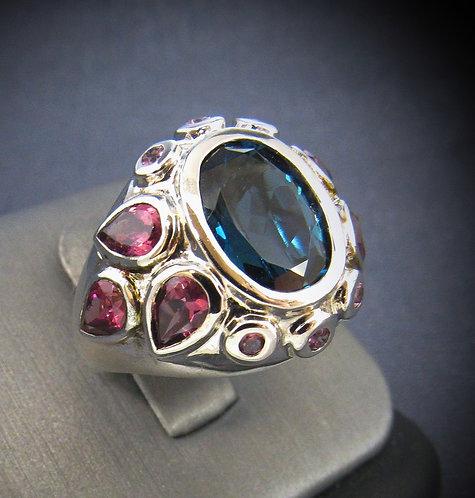 London Blue Topaz & Tourmaline Sterling Silver Ring
