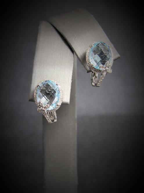 14KT White Gold Diamond And Blue Topaz Earrings