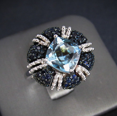 Square Blue Topaz & Sapphire Sterling Silver Ring