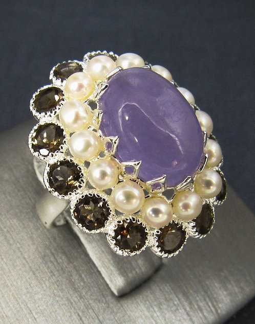 Rose Jade, Natural White Pearls, & Smoky Topaz Sterling Silver Ring