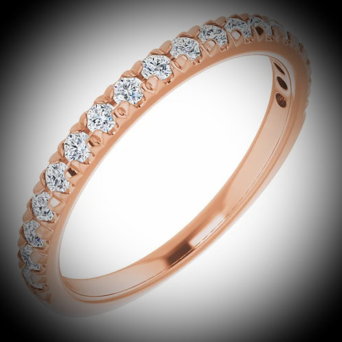 14KT Rose Gold Diamond Frech Set Style Band