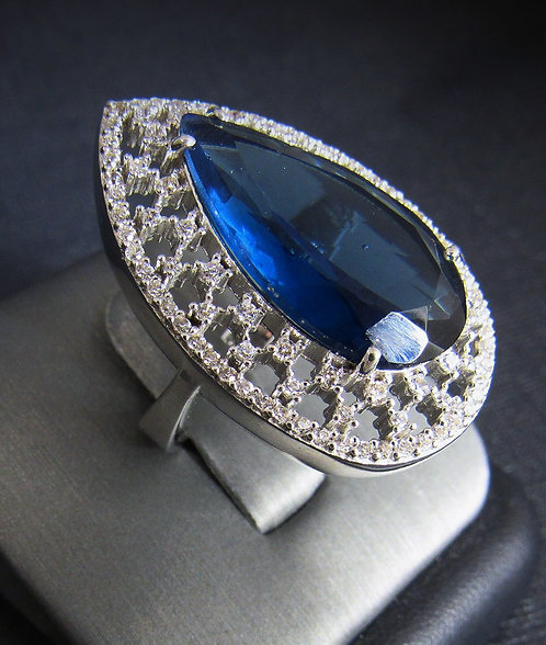 London Blue Topaz With White Sapphires 14KT Gold Plated Sterling Silver Ring