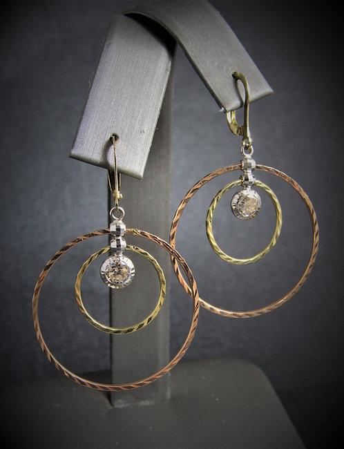 14KT Three Tone White Topaz Multi-Circles Earrings