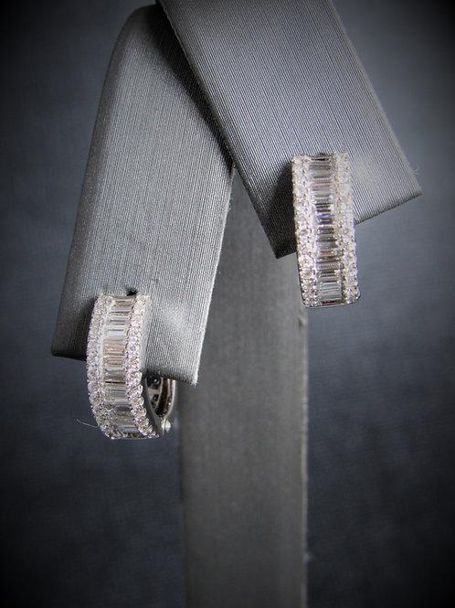 18KT White Gold Diamond Little Hoop Earrings