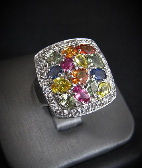 Multigem Sapphires Sterling Silver Ring