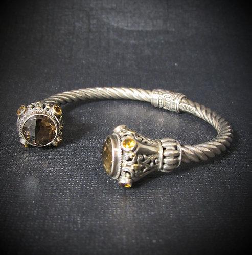 Midas Sterling Silver & 14KT Gold Cable Bracelet