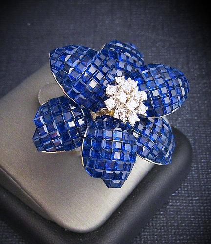 Star Flower Blue Sapphire & White Topaz 18KT Gold Plated Sterling Silver Ring