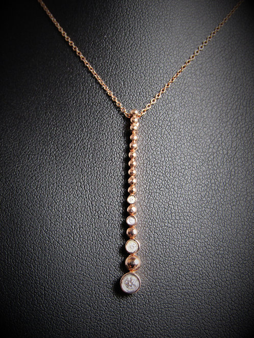 14KT Rose Gold Diamond Drop Bar Pendant