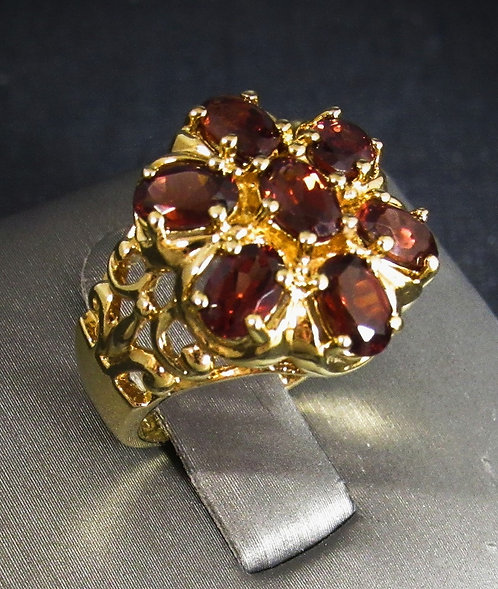 Garnet 14KT Yellow Gold Plated Sterling Silver Ring