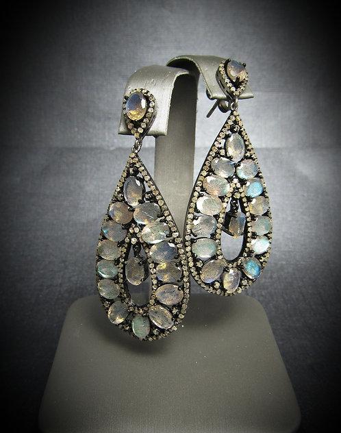 Labradorite, Chocolate Diamond, & 14KT Rhodium Plated Sterling Silver Earrings