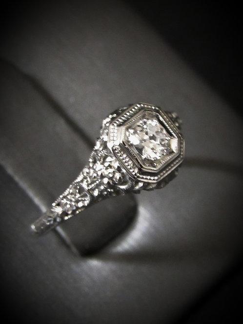 Edwardian 18KT White Gold Diamond Antique Engagement Ring