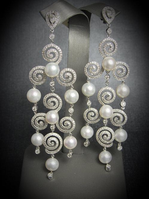 18KT White Gold Diamond And White Pearl Long Fancy Earrings