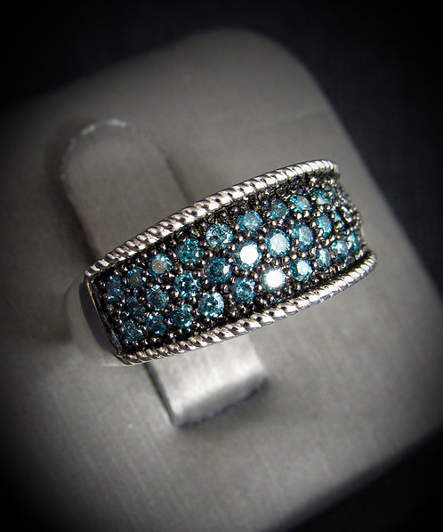 Blue & White Diamonds 18KT Gold Plated Sterling Silver Ring