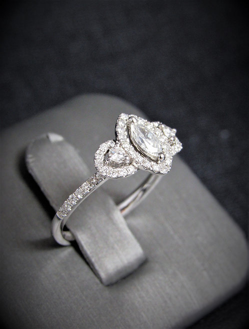 14KT White Gold Marquise Cut Diamond Engagement Ring