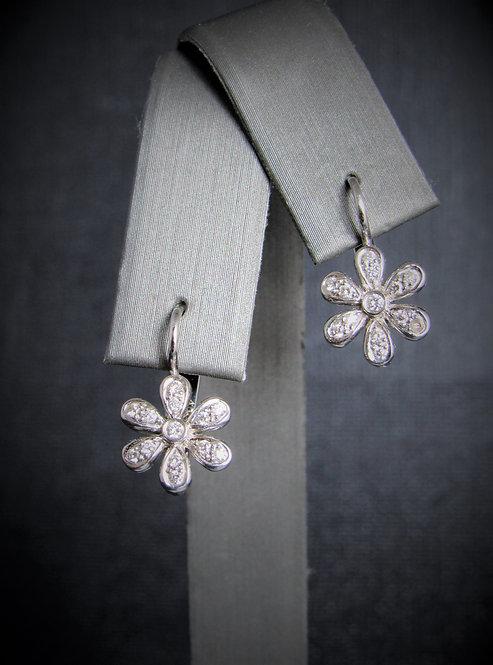 14KT White Gold Diamond Flower Earrings
