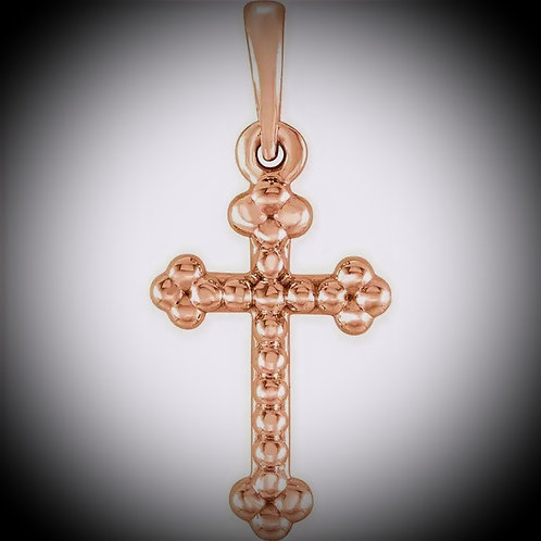14KT Rose Gold Beaded Cross Pendant