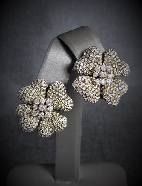 18KT Black Gold Diamond Pave Style Flower Earrings