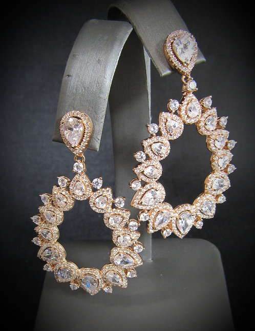 Pear Cluster Cubic Zirconia 18KT Rose Gold Plated Sterling Silver Earrings