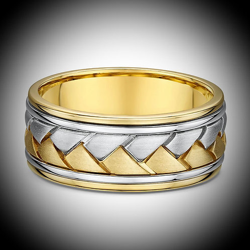 14KT Yellow And White Gold Brushed Center Carved Band