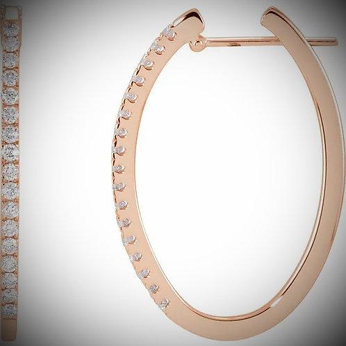 14KT Rose Gold Diamond Oval Hoop Earrings