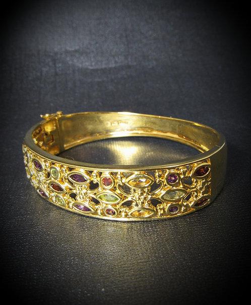 Multi Gems Sterling Silver & 18KT Yellow Gold Plated Bracelet