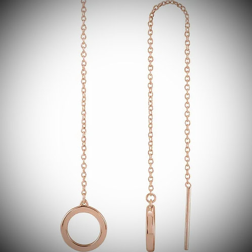 14KT Rose Gold Circle Chain Earrings