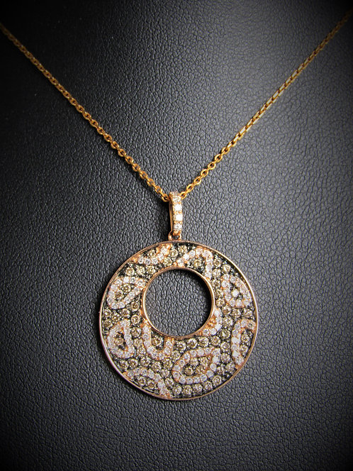 14KT Rose Gold Champagne And White Diamond Pendant
