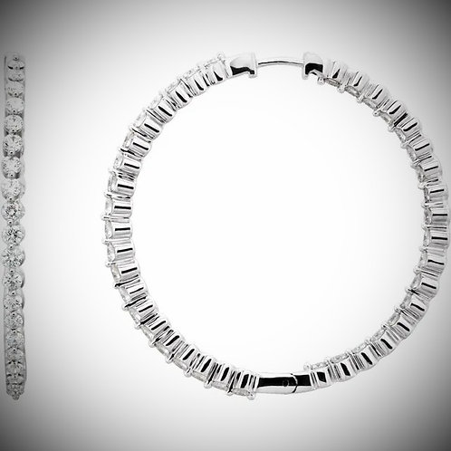 14KT White Gold Diamond Inside-Outside Prong Style Hoop Earrings
