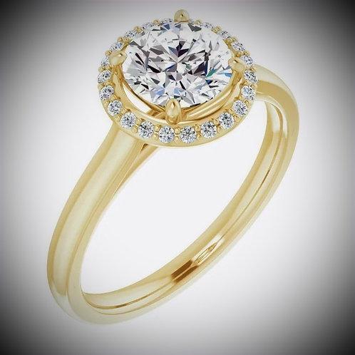 14K Yellow 6.5 mm Round 1/10 CTW Diamond Semi-Set Engagement Mounting
