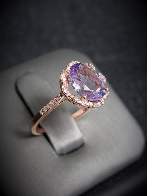 14KT Rose Gold Diamond And Pink Amethyst Ring