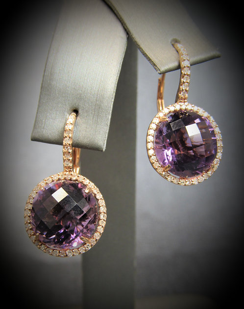14KT Rose Gold Amethyst And Diamond Halo Style Earrings