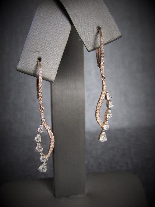 14KT Rose Gold Diamond Dangling Earrings