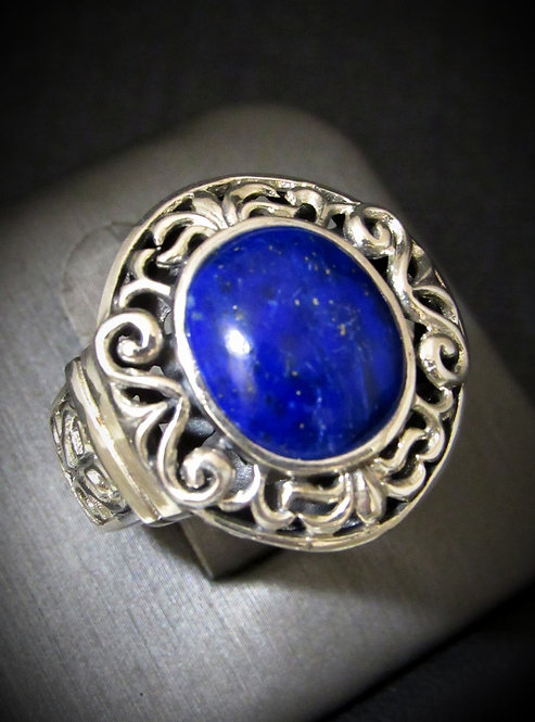 Oval Shape Blue Lapis Sterling Silver Ring