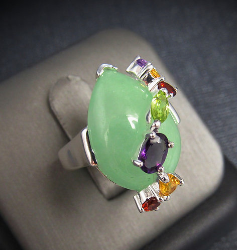 Green Chalcedony With Multigems Sterling Silver Ring