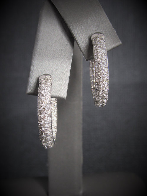 18KT White Gold Diamond Pave Set Hoop Earrings
