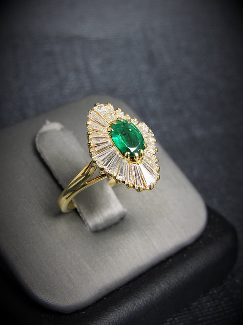18KT Yellow Gold Diamond And Emerald Ring