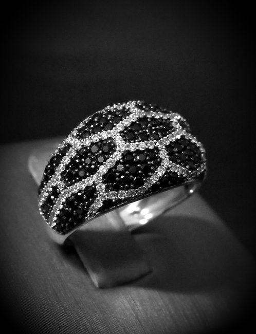 Black Onyx & White Topaz 18KT Gold Plated Sterling Silver Ring