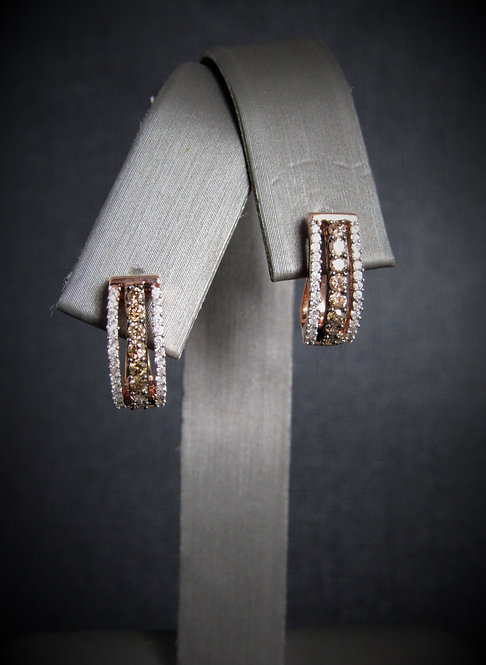 14KT Rose Gold Champagne And White Diamonds Earrings