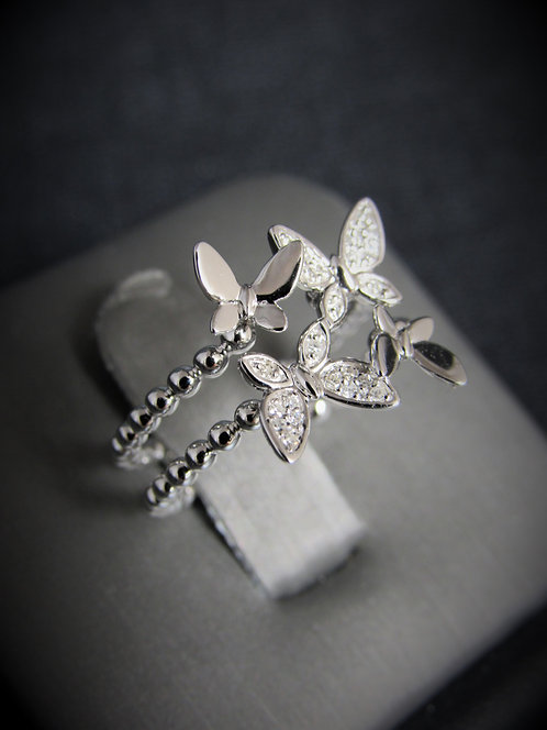 14KT White Gold  Diamond Butterfly Ring