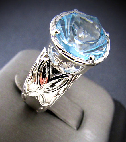 Blue Topaz Kaleidoscope Specialty Cut Sterling Silver Ring