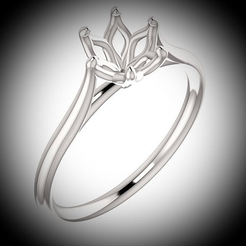 14KT White Gold Round Cut Engagement Ring Mounting