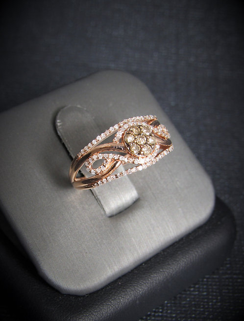 14KT Rose Gold Champagne And White Diamond Ring