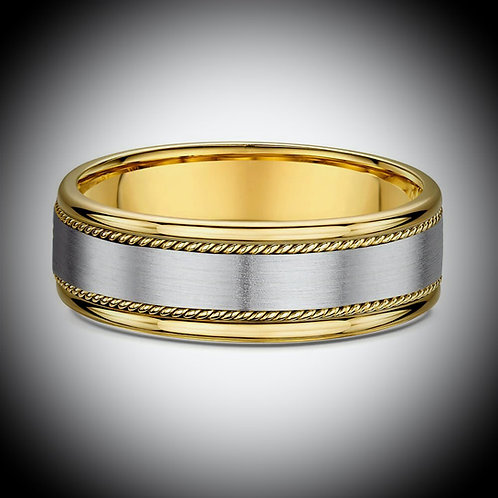18KT White And Yellow Gold Band