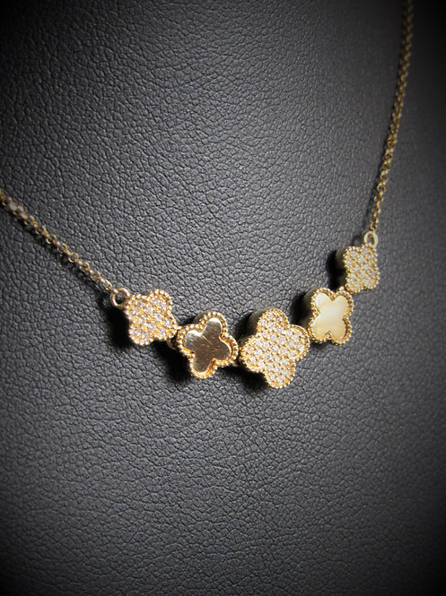 14KT Yellow Gold Diamond Five Clovers Necklace