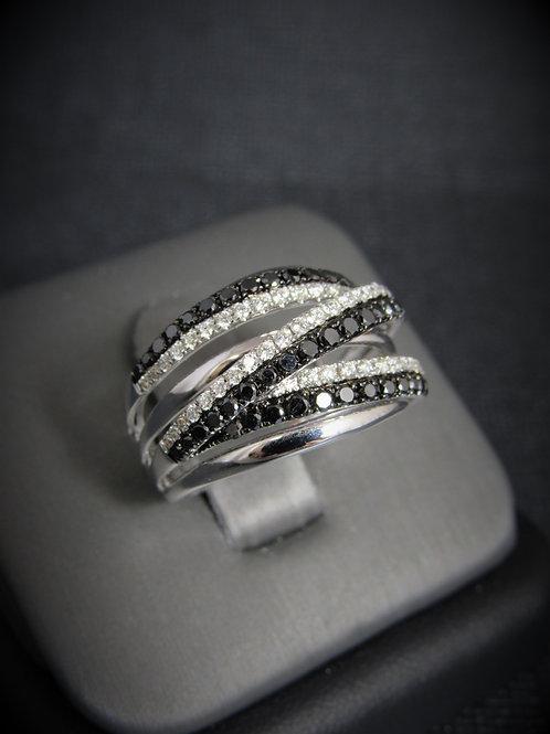 14KT White Gold Black And White Diamond Multi Row Ring