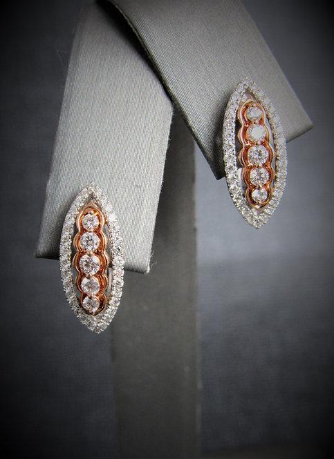 14KT White Gold And Rose Gold Diamond Earrings