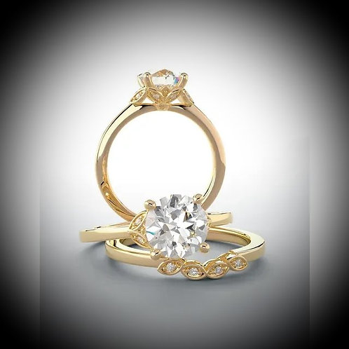 14KT Yellow Gold Round Engagement Ring Mounting