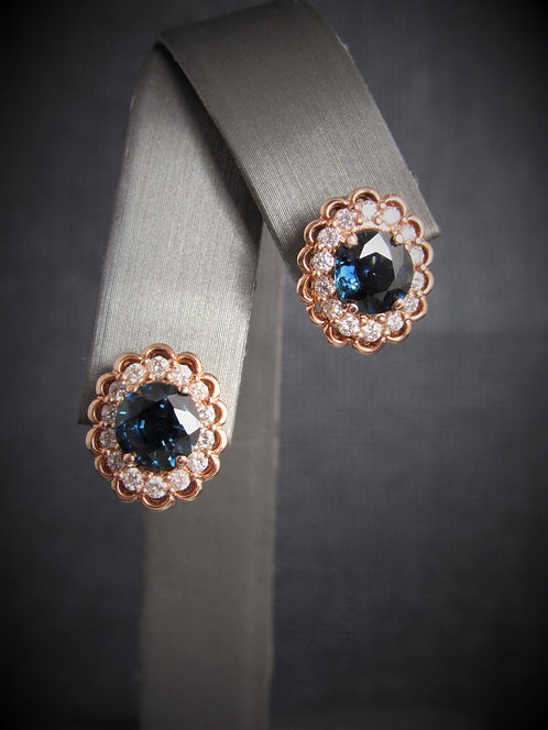 14KT Rose Gold Diamond And Sapphire Earrings